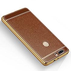 Silikon Hülle Handyhülle Gummi Schutzhülle Leder für Huawei Honor V8 Braun