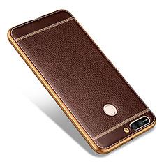 Silikon Hülle Handyhülle Gummi Schutzhülle Leder für Huawei Honor V9 Braun