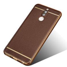 Silikon Hülle Handyhülle Gummi Schutzhülle Leder für Huawei Mate 10 Lite Braun