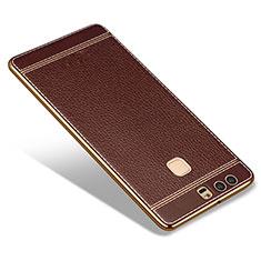 Silikon Hülle Handyhülle Gummi Schutzhülle Leder für Huawei P9 Braun