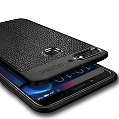 Silikon Hülle Handyhülle Gummi Schutzhülle Leder für Huawei Y7 (2018) Schwarz