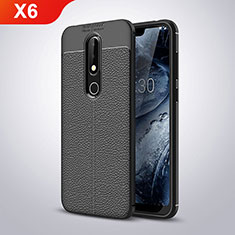 Silikon Hülle Handyhülle Gummi Schutzhülle Leder für Nokia X6 Schwarz