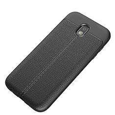 Silikon Hülle Handyhülle Gummi Schutzhülle Leder K01 für Samsung Galaxy J5 (2017) SM-J750F Schwarz