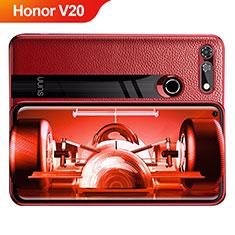 Silikon Hülle Handyhülle Gummi Schutzhülle Leder Q01 für Huawei Honor V20 Rot