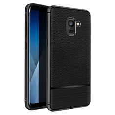 Silikon Hülle Handyhülle Gummi Schutzhülle Leder Q01 für Samsung Galaxy A5 (2018) A530F Schwarz