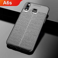 Silikon Hülle Handyhülle Gummi Schutzhülle Leder Q01 für Samsung Galaxy A6s Schwarz