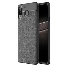 Silikon Hülle Handyhülle Gummi Schutzhülle Leder Q01 für Samsung Galaxy A8 Star Schwarz
