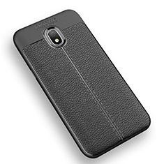 Silikon Hülle Handyhülle Gummi Schutzhülle Leder Q01 für Samsung Galaxy J3 Star Schwarz