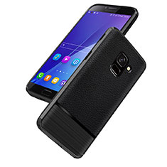 Silikon Hülle Handyhülle Gummi Schutzhülle Leder Q01 für Samsung Galaxy J6 (2018) J600F Schwarz