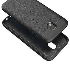 Silikon Hülle Handyhülle Gummi Schutzhülle Leder Q01 für Samsung Galaxy J7 (2017) Duos J730F Schwarz