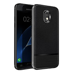 Silikon Hülle Handyhülle Gummi Schutzhülle Leder Q01 für Samsung Galaxy J7 (2018) J737 Schwarz
