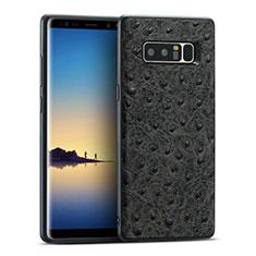 Silikon Hülle Handyhülle Gummi Schutzhülle Leder Q01 für Samsung Galaxy Note 8 Duos N950F Schwarz