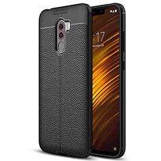 Silikon Hülle Handyhülle Gummi Schutzhülle Leder Q01 für Xiaomi Pocophone F1 Schwarz