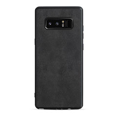 Silikon Hülle Handyhülle Gummi Schutzhülle Leder R05 für Samsung Galaxy Note 8 Duos N950F Schwarz