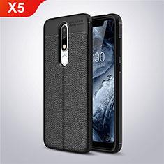 Silikon Hülle Handyhülle Gummi Schutzhülle Leder Tasche A01 für Nokia X5 Schwarz