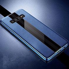 Silikon Hülle Handyhülle Gummi Schutzhülle Leder Tasche A01 für Samsung Galaxy S10 Blau