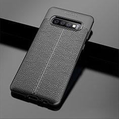 Silikon Hülle Handyhülle Gummi Schutzhülle Leder Tasche A02 für Samsung Galaxy S10 Plus Schwarz