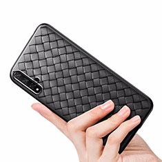 Silikon Hülle Handyhülle Gummi Schutzhülle Leder Tasche für Huawei Honor 20 Schwarz
