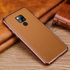 Silikon Hülle Handyhülle Gummi Schutzhülle Leder Tasche für Huawei Mate 20 X 5G Braun