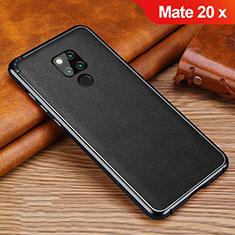 Silikon Hülle Handyhülle Gummi Schutzhülle Leder Tasche für Huawei Mate 20 X 5G Schwarz