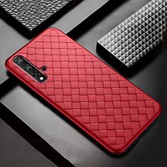 Silikon Hülle Handyhülle Gummi Schutzhülle Leder Tasche für Huawei Nova 5 Rot