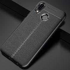 Silikon Hülle Handyhülle Gummi Schutzhülle Leder Tasche für Huawei P Smart+ Plus Schwarz