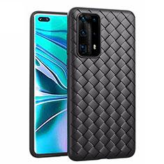Silikon Hülle Handyhülle Gummi Schutzhülle Leder Tasche für Huawei P40 Pro+ Plus Schwarz