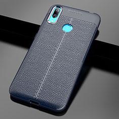 Silikon Hülle Handyhülle Gummi Schutzhülle Leder Tasche für Huawei Y7 Pro (2019) Blau