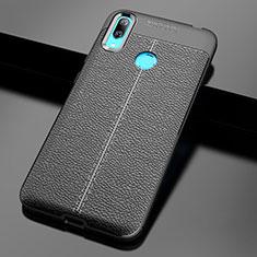 Silikon Hülle Handyhülle Gummi Schutzhülle Leder Tasche für Huawei Y7 Pro (2019) Schwarz