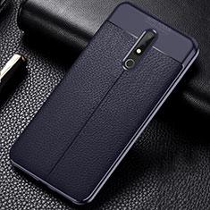 Silikon Hülle Handyhülle Gummi Schutzhülle Leder Tasche für Nokia X5 Blau
