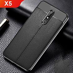 Silikon Hülle Handyhülle Gummi Schutzhülle Leder Tasche für Nokia X5 Schwarz