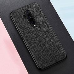 Silikon Hülle Handyhülle Gummi Schutzhülle Leder Tasche für OnePlus 7T Pro 5G Schwarz