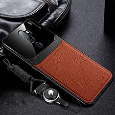 Silikon Hülle Handyhülle Gummi Schutzhülle Leder Tasche für Oppo A11X Braun