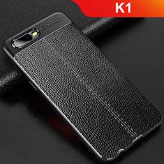 Silikon Hülle Handyhülle Gummi Schutzhülle Leder Tasche für Oppo K1 Schwarz
