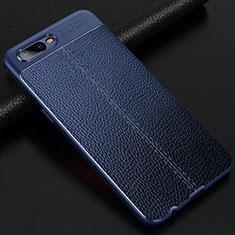 Silikon Hülle Handyhülle Gummi Schutzhülle Leder Tasche für Oppo R17 Neo Blau