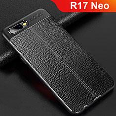 Silikon Hülle Handyhülle Gummi Schutzhülle Leder Tasche für Oppo R17 Neo Schwarz