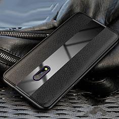 Silikon Hülle Handyhülle Gummi Schutzhülle Leder Tasche für Oppo Realme X Schwarz
