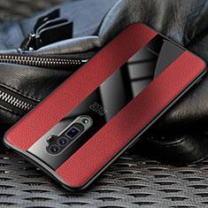 Silikon Hülle Handyhülle Gummi Schutzhülle Leder Tasche für Oppo Reno 10X Zoom Rot