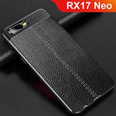Silikon Hülle Handyhülle Gummi Schutzhülle Leder Tasche für Oppo RX17 Neo Schwarz