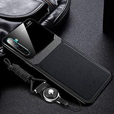 Silikon Hülle Handyhülle Gummi Schutzhülle Leder Tasche für Realme XT Schwarz