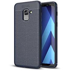Silikon Hülle Handyhülle Gummi Schutzhülle Leder Tasche für Samsung Galaxy A5 (2018) A530F Blau