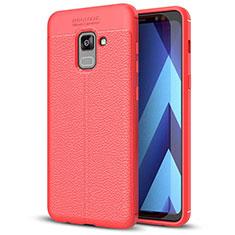 Silikon Hülle Handyhülle Gummi Schutzhülle Leder Tasche für Samsung Galaxy A5 (2018) A530F Rot