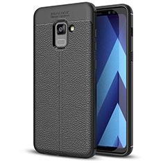 Silikon Hülle Handyhülle Gummi Schutzhülle Leder Tasche für Samsung Galaxy A5 (2018) A530F Schwarz