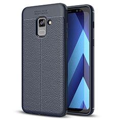Silikon Hülle Handyhülle Gummi Schutzhülle Leder Tasche für Samsung Galaxy A8+ A8 Plus (2018) Duos A730F Blau
