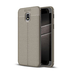 Silikon Hülle Handyhülle Gummi Schutzhülle Leder Tasche für Samsung Galaxy J3 (2018) SM-J377A Grau