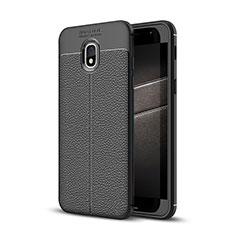 Silikon Hülle Handyhülle Gummi Schutzhülle Leder Tasche für Samsung Galaxy J3 (2018) SM-J377A Schwarz