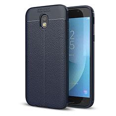 Silikon Hülle Handyhülle Gummi Schutzhülle Leder Tasche für Samsung Galaxy J5 (2017) SM-J750F Blau