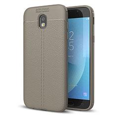 Silikon Hülle Handyhülle Gummi Schutzhülle Leder Tasche für Samsung Galaxy J5 (2017) SM-J750F Grau