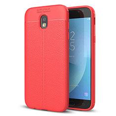 Silikon Hülle Handyhülle Gummi Schutzhülle Leder Tasche für Samsung Galaxy J5 (2017) SM-J750F Rot