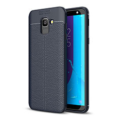 Silikon Hülle Handyhülle Gummi Schutzhülle Leder Tasche für Samsung Galaxy J6 (2018) J600F Blau